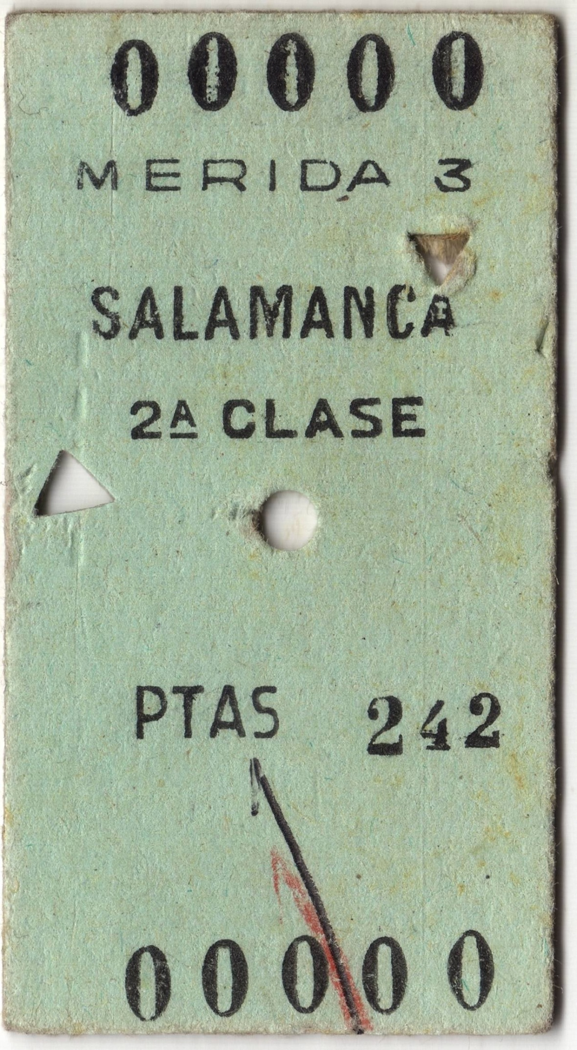 Billete Mérida - Salamanca (1968)